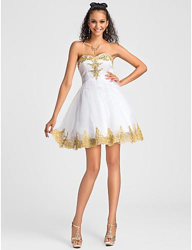 Beauty White Gold Applique Beads Short Party Dresses Cocktail ...
