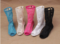 Wholesale Lace Lace Short Hollow Out hook Flower Drum Fish Mouth boots cool boots female boots summer boots