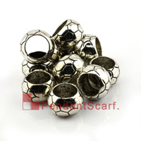 Wholesale 50PCS Top Popular DIY Jewellery Scarf Pendant Accessories Gun Black Plated Soccer Ball Design Plastic CCB Beads AC0135