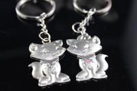 Wholesale Unique Wedding Favors kirsite cat design Keychain Favors of pairs