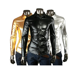 Wholesale JOGAL Nightclub Fashion Bright Coating Elastic three color fabrics of cultivate one s morality men s long sleeve shirt shirts