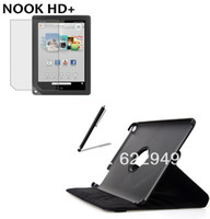 For Barnes Noble For Nook HD+ 9' Leather Rotating 360 Folio Stand Leather Case Cover +Screen Protector +Stylus For Barnes Noble Nook HD+ 9 9'