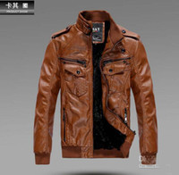 fur coat men - Men s PU Locomotive Leather Jacket Coat Thickening Fur Outerwear Slim Winter Jacket Brown M XXXL