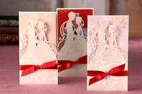 Cheap hot selling CW2029 novel design red Invitation cards Wedding Invitations Wedding cards come with envelopes and seals
