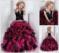 New Arrivals Black Fuchsia Organza Ruffle Ball Gown Pageant ...