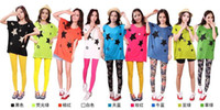 Wholesale Bat short sleeve casual printing Modal amp Cotton T shirt Star candy color