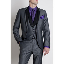 Wholesale Price Grey Groom Tuxedos Best Man Suits Groomsmen Men Wedding Suits Jacket Pants Vest Tie OK
