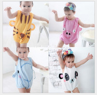 Wholesale New Baby Tiger Panda Pig Elephant animal rompers Baby overalls jumpers BABY cotton romper bodysuit Baby jumpsuits pink white blue M257
