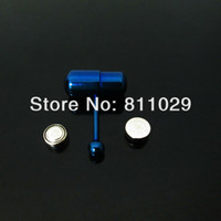 Tongue Rings   Free shipping wholesale Fashion Charm 30pcs surgical Stainless Steel blue vibrating tongue barbell piercing tongue ring
