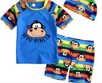 Boy Two-piece 4-5-6-7-8 Smart monkey boy children swimwear swimsuit SPF fabrics male baby monkey fission swimsuit