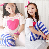 Wholesale girls suits sets tops slack garments kids outfit tights tees pant children panties sweatshirts stripe panties leggings pajamas tshirts Z229