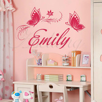 Wholesale Large size Customized Personalized Name amp Butterflies Wall Sticker Decor Decal