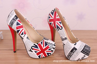 Wholesale New Arrived height CM waterproof cm UK flag shoes Fashion popular high heeled shoes red sole platform shoes plus size