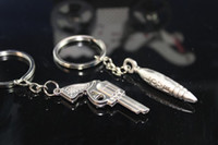bullet keychain - Unique Wedding Favors kirsite handgun and bullet design Keychain Favors lover Keychain of pairs