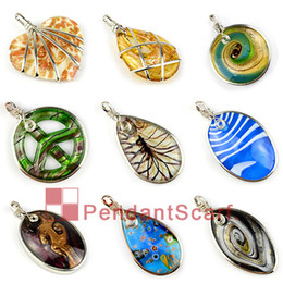 9PCS LOT, Super Fashion DIY 9 Designs Mixed Jewellery Scarf Accessories Zinc Alloy Frame Charm Glass Pendant, Free Shipping, AC Glass Mix