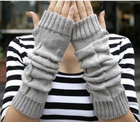 Wholesale Fashion Womens mens winter knit gloves knitted woolen fingerless warm long gloves mix order top quality