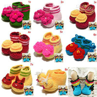 Wholesale 2013 Knitted baby booties Lovely baby flower shoes handmade Toddler crochet shoes First walkers