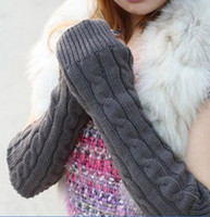 Wholesale Fashion Womens mens winter knit gloves knitted woolen fingerless warm long gloves mix order dark grey