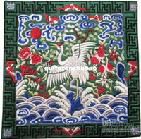 Wholesale Luxury Table Mats Personalised Chinese Satin Square Embroidered Crane Patterns pack mix Free