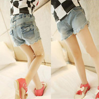 Wholesale 2013 Girls Hot Sell Denim Pants Fashion Trend All match Shorts Washed Stretch Bowknot Embellished Hem Lace Short Jeans Denim Blue