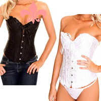 Wholesale White Black Sexy Lace up Steel Corset Bustier Strapless G String Wild Lingerie Four Sizes