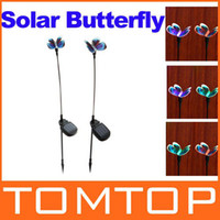 Wholesale 2 X Solar Powered Butterfly Color Changing Garden Stake Light Set Freeshipping Dropshipping H8849