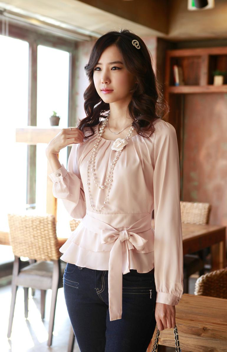 2018 Pink Women Shirt Formal Ladies Shirts Come With Puff ...