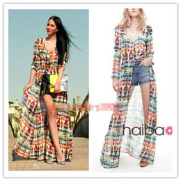 Wholesale Women s Vintage Bohemia Tie Dye Printing Button Up Cardigan Maxi Dress S M L