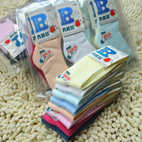 Wholesale six mice candy color male and female child socks spring summer autumn thin cotton cotton cotton baby booties