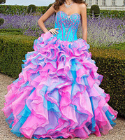 New Hot Ball Gown Sweetheart Floor length Ruffle Organza Qui...