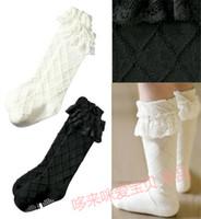 Girl white tube socks - COMBI tube socks black and white children comfortable in spring summer lace cotton socks