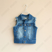 Wholesale Stylish Baby Boys Girls Summer Autumn Waistcoat Sleeveless Hole Macrame Denim Vest Jackets Trend All match Children Clothing