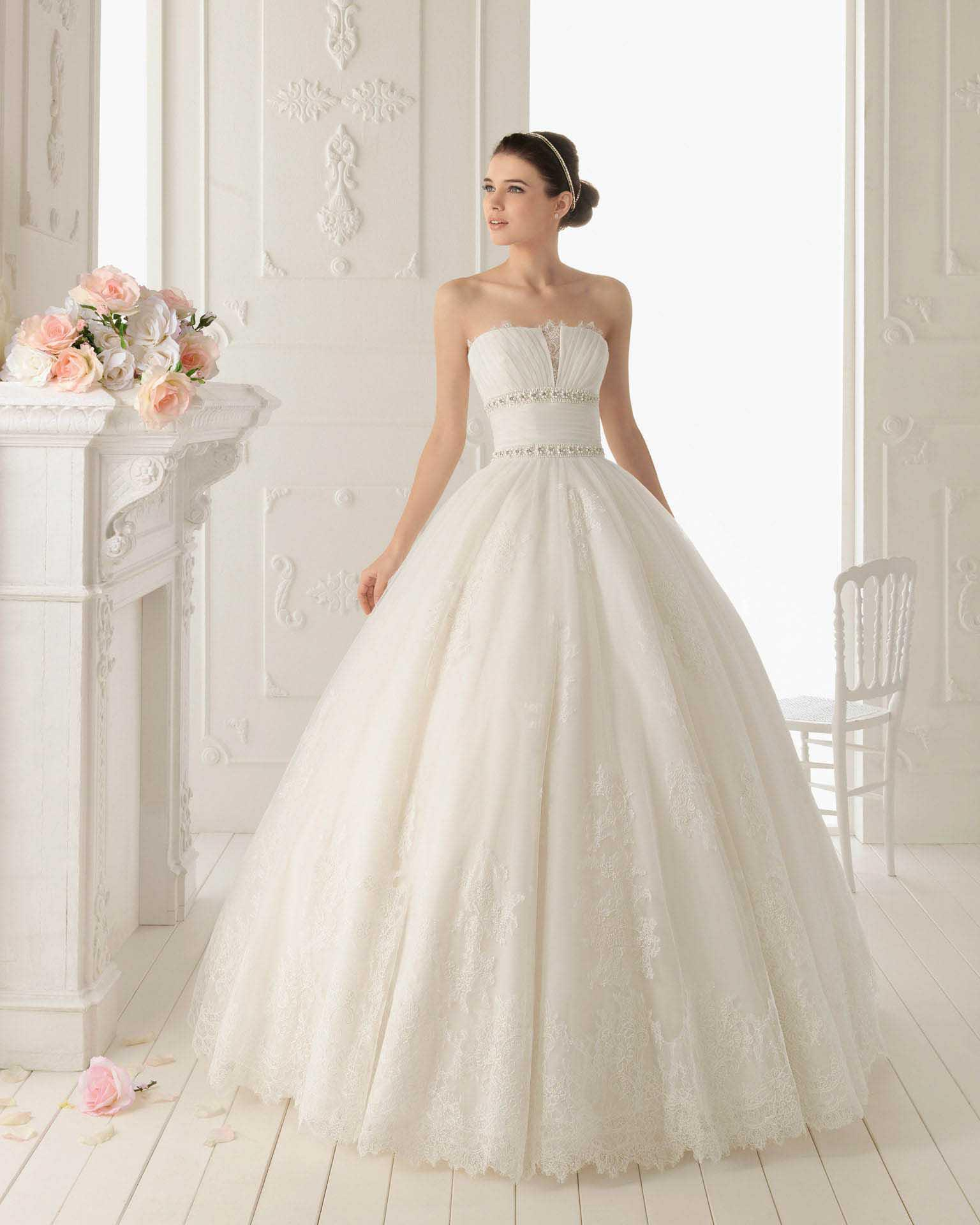 Simple ball gown wedding dresses a line strapless