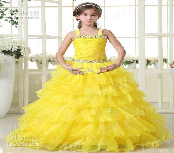 Hot Sale Yellow Girl Kids Pageant Dress Party Princess Ball Gown ...