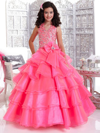 Wholesale Beautiful A line Crystals Organza Girl s Pageant Dresses Halter Flower Girls Dresses Wedding Girls Dress Party Dress A31