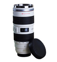 Wholesale EF mm F USM Lens Creative Thermos Coffee Cup Stainless Steel Mug Canon Lens Insulation Mug White Y4019B