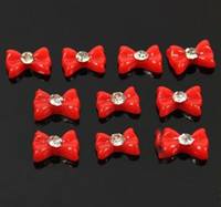 Wholesale New Nail Art D pack Red Acrylic Bowknot Bow Tie Tips Rhinestone Decoration Dot Resin Ribbon