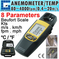 Wholesale 8020 Digital Thermo Anemometer fpm Thermometer Speed Velocity Temperature mph m s Built in Rotary Vane Data Hold function