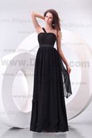Wholesale Cheap Price Spaghetti Ruffle Sequins One Shoulder Appliques Floor Length A Line Black Prom Dress Party Dresses