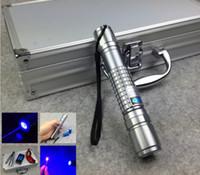 Libre 450nm 4000 MW envío / 4watt impermeable puntero láser azul enfocable ardiente antorcha + caja de aluminio + gafas gratuitas