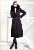 Cheap Luxury elegant 2013 Women long 90% down coat overcoat winter warm outerwear zipper down parkas jacket with fox fur hat