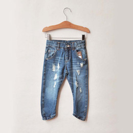 Wholesale Denim Trouser Child Clothing Ripped Jeans Long Trousers Popular Fashion Jeans Children Casual Pants Boys And Girls Blue Jeans Baby Clothes