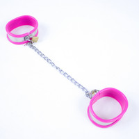 Wholesale High quality men pink multifunctional sex foot cuffs Stainless Steel and Silicon sex game products for men with locks drop shipping