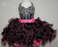 Wholesale Perfect lovely black halter beaded mini flower girl dresses with pink belt toddler pageant dress