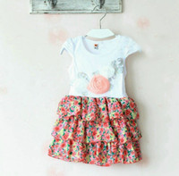 Wholesale 2013 New fashion Kids Summer dress girls three dimensional roses floral printed cotton chiffon short sleeve cake dress M258
