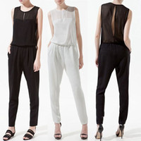 Sleeveless Long Pants 2013 Hot Women Sleeveless sexy Jumpsuit bodysuit backless Chiffon jumpsuit pant black white Coveralls romper casual jumpsuit women's clothes