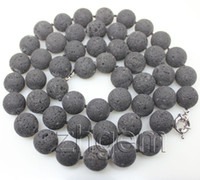 Wholesale natural black mm Volcanic lava round bead necklace