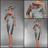 online shopping - 2013 Beach Mother of the Bride Dresses A line Silver Ruffles V neck Knee Length Wedding Party Guest Gown Shop Online Designer