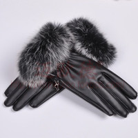 Wholesale Big rabbit fur leather gloves female winter thick thermal women s rabbit fur gloves