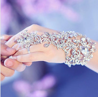 Wholesale elegant wedding Bridal party prom Jewelry Crystal Rhinestone bracelet with ring wristband Bracelet jb050